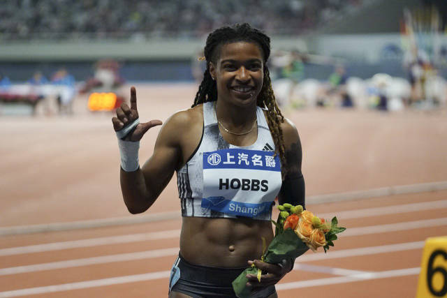Winner, women's 100m dash,