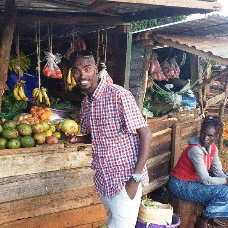 Mo Farah out-and-about at Iten's open air markets in search of oranges and other fruits