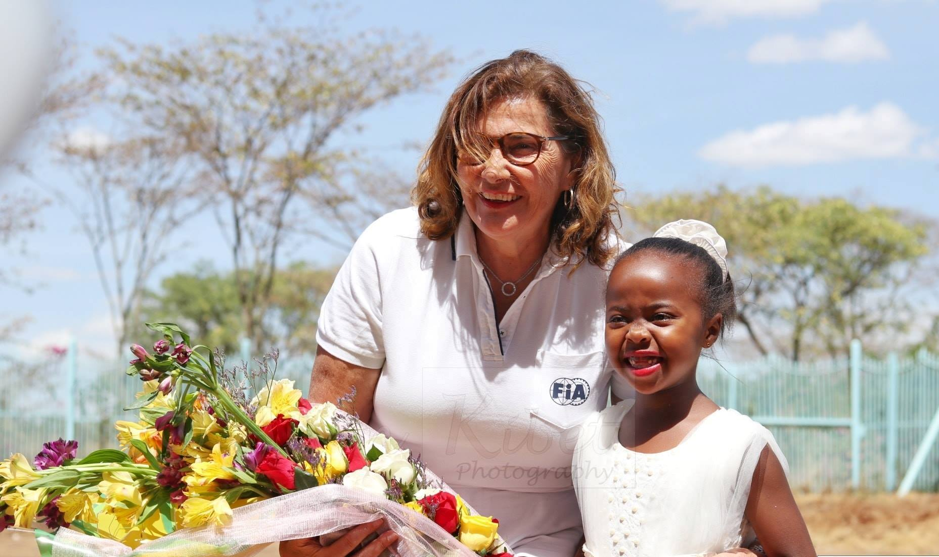 Michelle Mouton (left) is welcomed to familiar grounds where she competed in Safari's WRC days. But this time she was for assesing whether the Safari Rally can return to the world championship roster