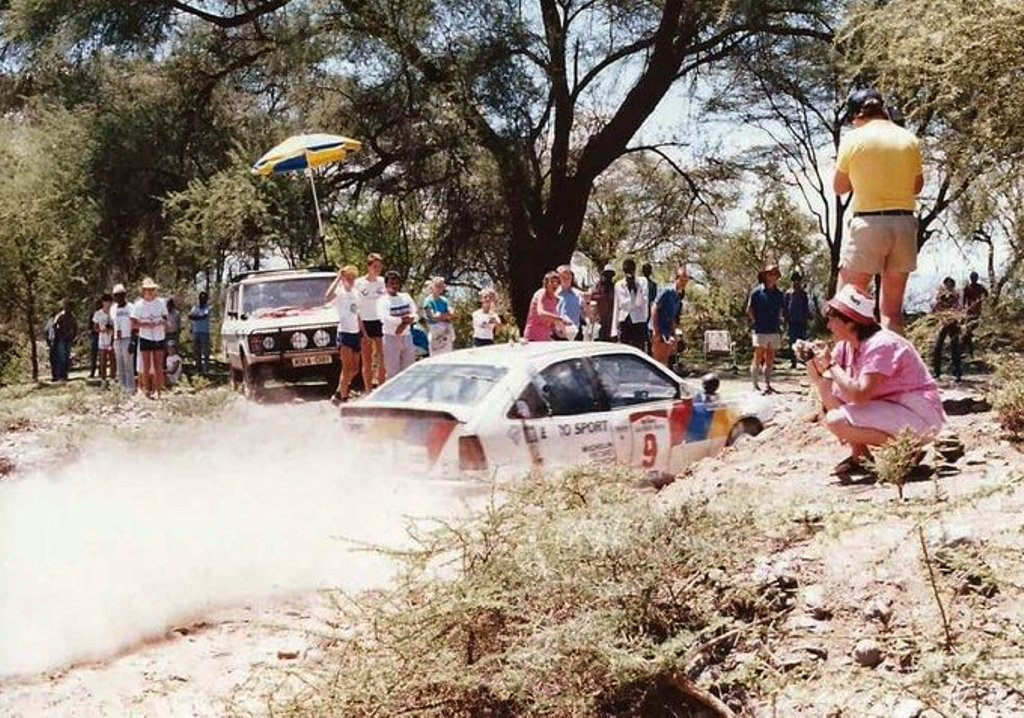 Rauno Aaltonen in an Opel Ascona through a dry and dusty stage in the WRC Safari Rally days