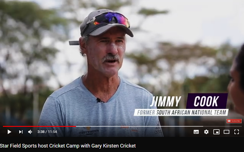 Above: Roy Cook, on the sidelines of the coaching camp at Nairobi Gymkhana, gives a television interview [wrong name caption]. Below: Garreth von Hoesslin