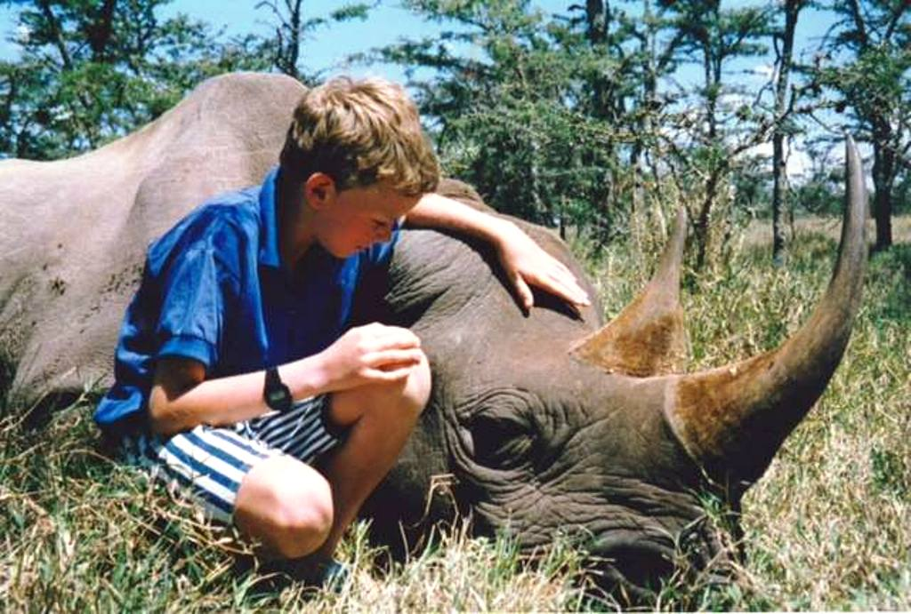 Young Chris Froome with Rhino at Ol Pajeta, Laikipia