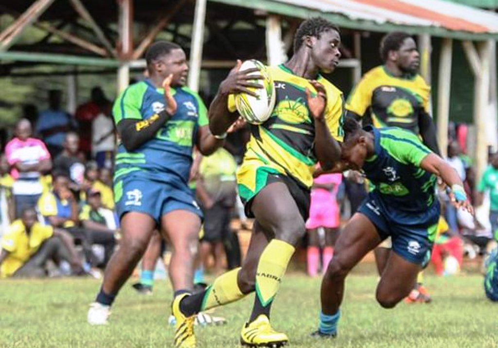 Kenya U20s vice-captain Samuel Asati (left) of KCB had his tackle just well executed, also below