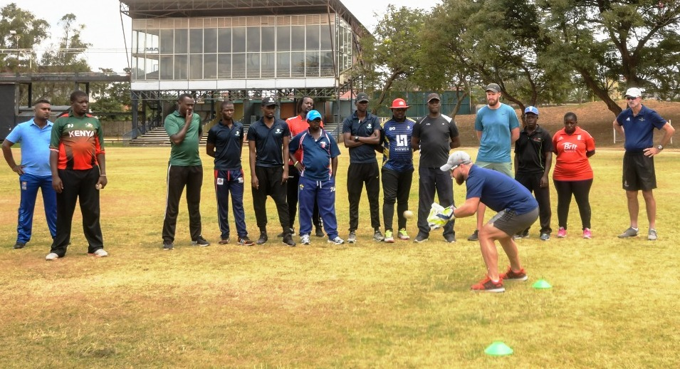 Garreth Von Hoesslin, Director of Coaching from Gary Kirsten Garreth Von Hoesslin, Director of Coaching at Gary Kirsten Cricket demonstrates wicketkeeping drills in the Coach Education Session at Nairobi Gymkhana