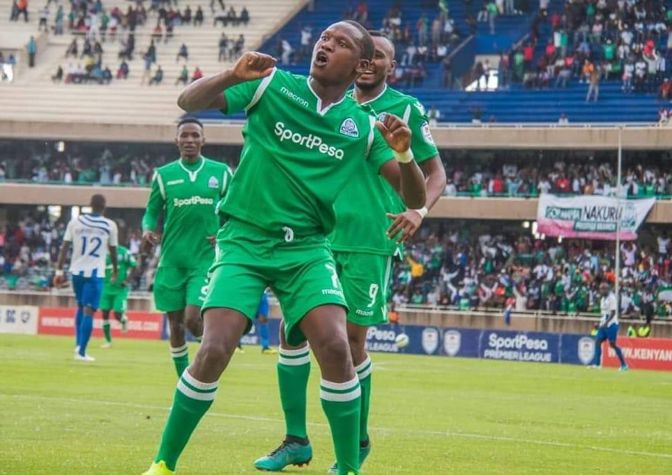 Top: Gor Mahia celebrate yet another league goal. Above, their prolific scorer Nicholas Kipkurui