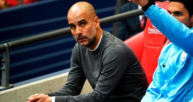 Pep Guardiola portrayed as less a football coach and more of an anguished scientist whose prototype civil defence robot has just run amok at a trade show slaughtering several bystanders