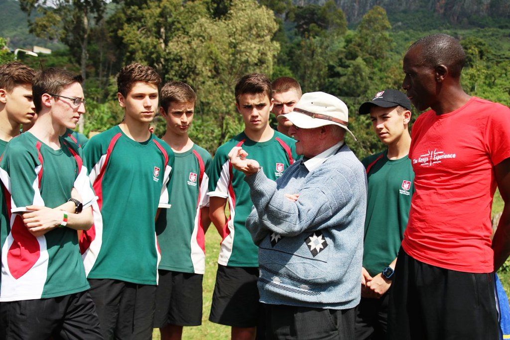 Bro Colm O'Connell's (in white hat) word of advice to visiting aspiring sportsmen at Iten