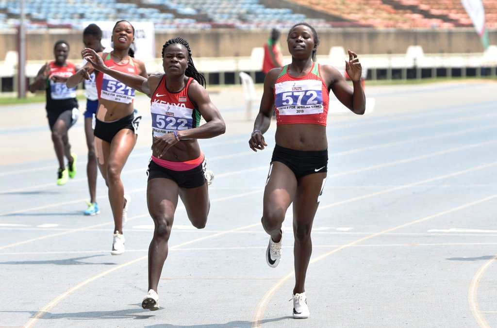 Maureen Thomas (572) 23.95, stunned the pre-race favourite Eunice Kadogo (522) 23.96 to win women's 200m final. Both made the African Games squad for Rabat, Morocco