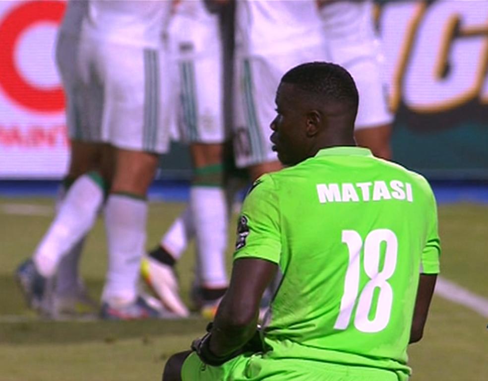 Kenya goalie Patrick Matasi is beaten