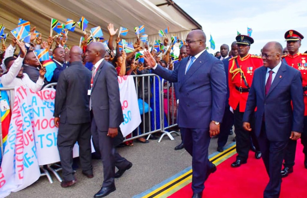 President John Pombe Magufuli (right) welcomes President Felix Tshisekedi (second from right) in Dar es Salaam when the DR Congo leader called seeking support for co-operation with East African Community members