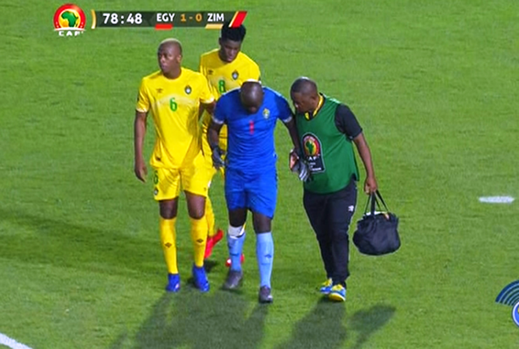 Zimbabwe goalie Edmore Sibanda (centre) retired hurt in the 80th minute during the opening 2019 AFCON match with Egypt on Friday