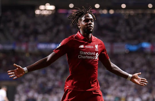 Divock Origi after scoring Liverpool's second goal against Spurs in the 87th minute