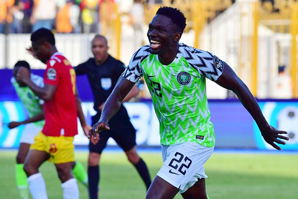 Kenneth Omeruo is happy with his winner for Nigeria against Guinea in Alexandria on Wednesday