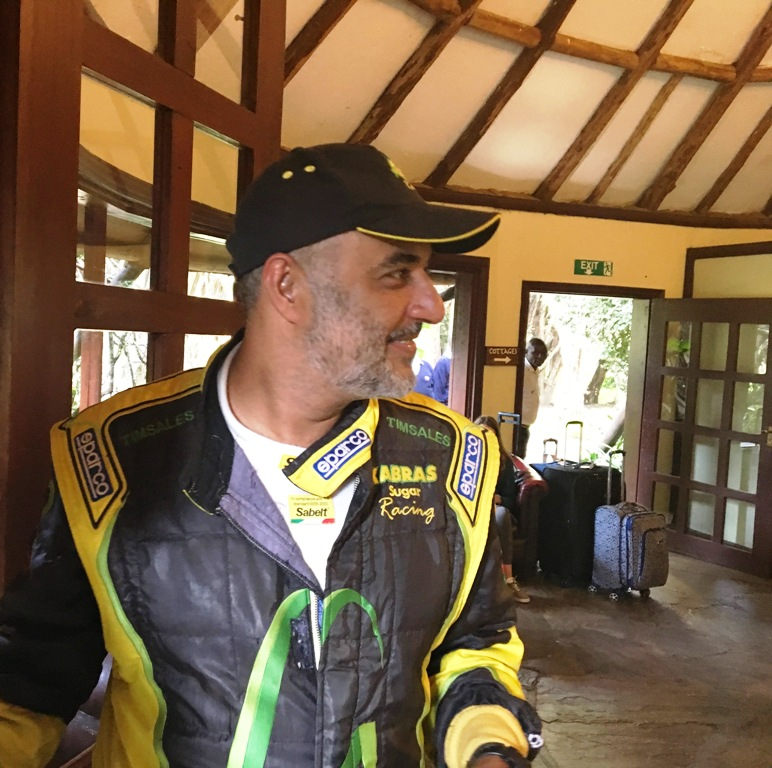 The 2019 Safari Rally winner Baldev Singh Chager and, below, Phineas Kimathi (right), chief executive officer of the WRC Safari Rally Project talks in a television show in Nairobi