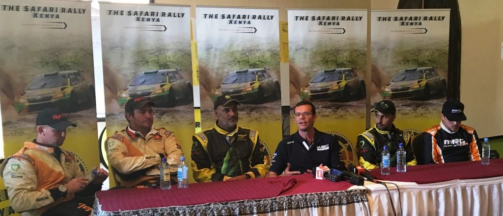 Olivier Ciesla (third from right), managing director of WRC Promoter at the post-Safari Rally Press conference for podium finishers at rally headquarters, Sopa Lodge, Naivasha