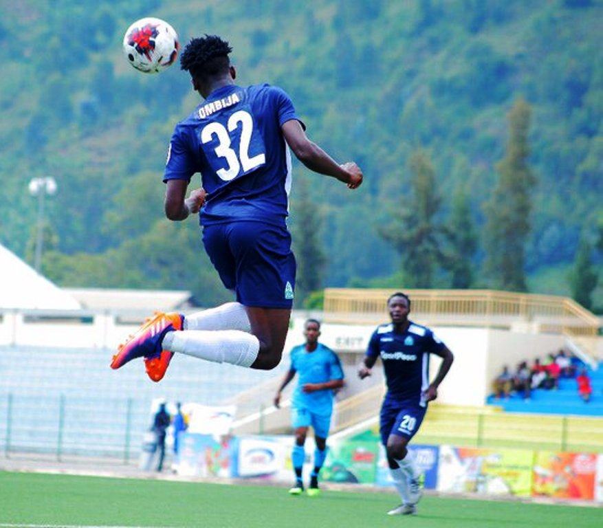 Trevor Ombija of Gor Mahia makes a header during the Cecafa Kagame Cup in Rwanda