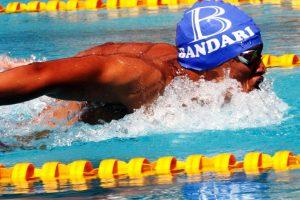 Ridhwan Abubakar Mohamed of Bandari Club during national swimming trials, men 400m individual medley relay at Kasarani Aquatic Stadium, April 13, 2019. Photo/MOHAMMED AMIN