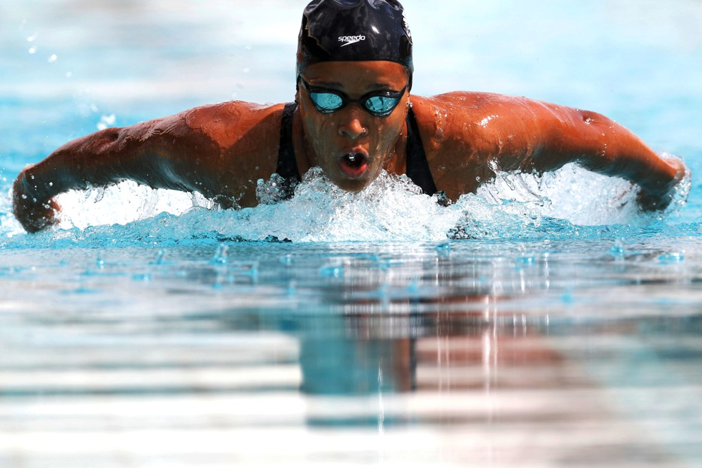Emily Muteti competes in the girls' 200m individual medley at the 2019 KSF nationals swimming trials at the Kasarani, April 14, 2019. Photo/MOHAMMED AMIN