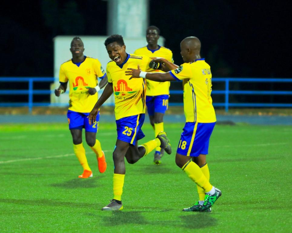 Uganda's KCCA players celebrate Allan Okelo's (No. 25) goal against Mukura Victory at Huye Stadium on Friday