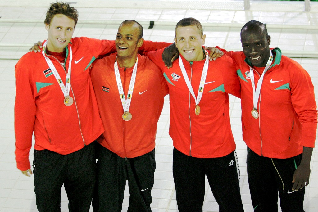 Bronze for Kenya, 4x100m medley relay, All-Africa Games at Zempeto Acquatic Centre, Maputo, Mozambique September 11, 2011. From left: Jason Dunford, Amar Shah, David Dunford, Rama Vyombo. Photo/MOHAMMED Amin, attached to Team Kenya