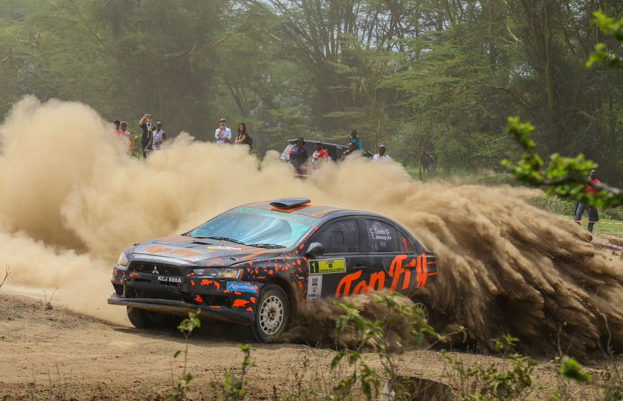 """Top: Winner of this year's Safari Rally, Baldev Singh Chager and, above, runners-up Carl """"Flash"""" Tundo in the closing stages of the event at Kedong', Naivasha on the Great Rift Valley"""