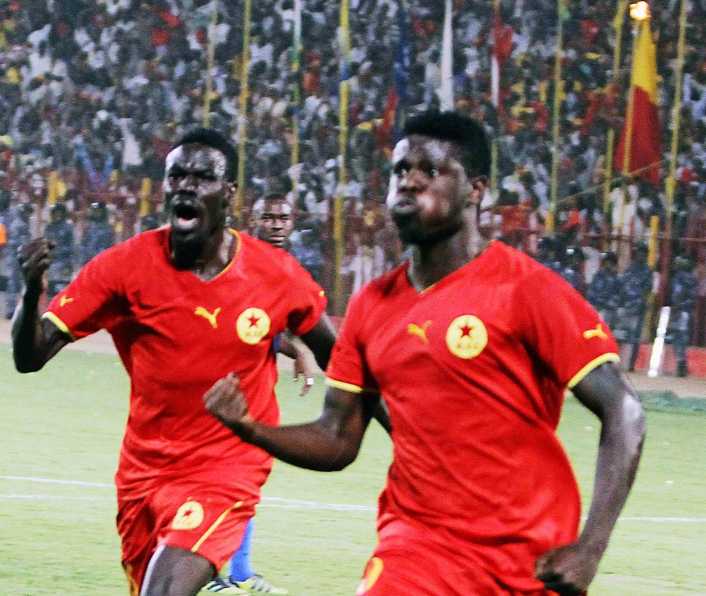 Another past goal for El Merreikh by Kenya international striker Allan Wanga (right)