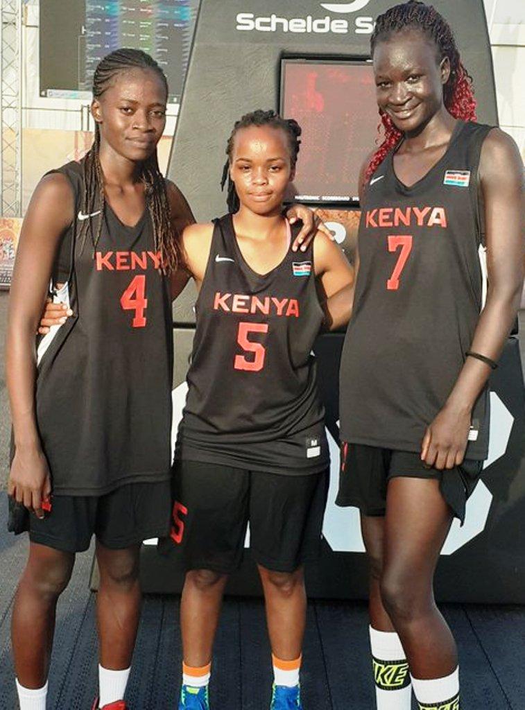 Team Kenya trio, from left: Daisy Ayodi (Equity), Caroline Njeri Nduta (African Nazarene University), Christine Akinyi (Kenya Ports Authority)