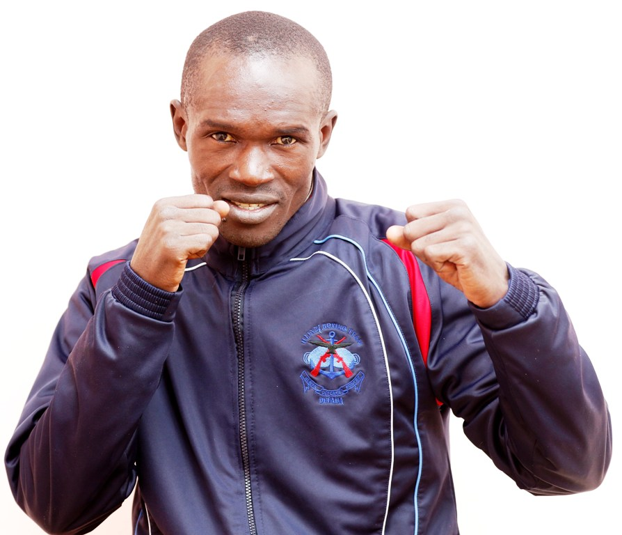 Nick Okoth of Kenya Defence Forces, won his quarter final featherweight boxing bout in Rabat. Photo/MOHAMMED AMIN