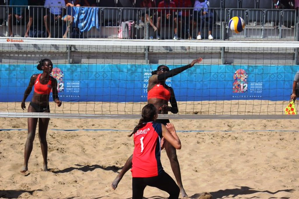 Top: Women's beach volleyball Silver medallists Gaudencia Nakhumicha Makokha (left) and Naomi Too. Above and below: Naomi Too and Gaudencia Makokha in action during the Final and semi-finals against Egypt and Mozambique, respectively in Rabat