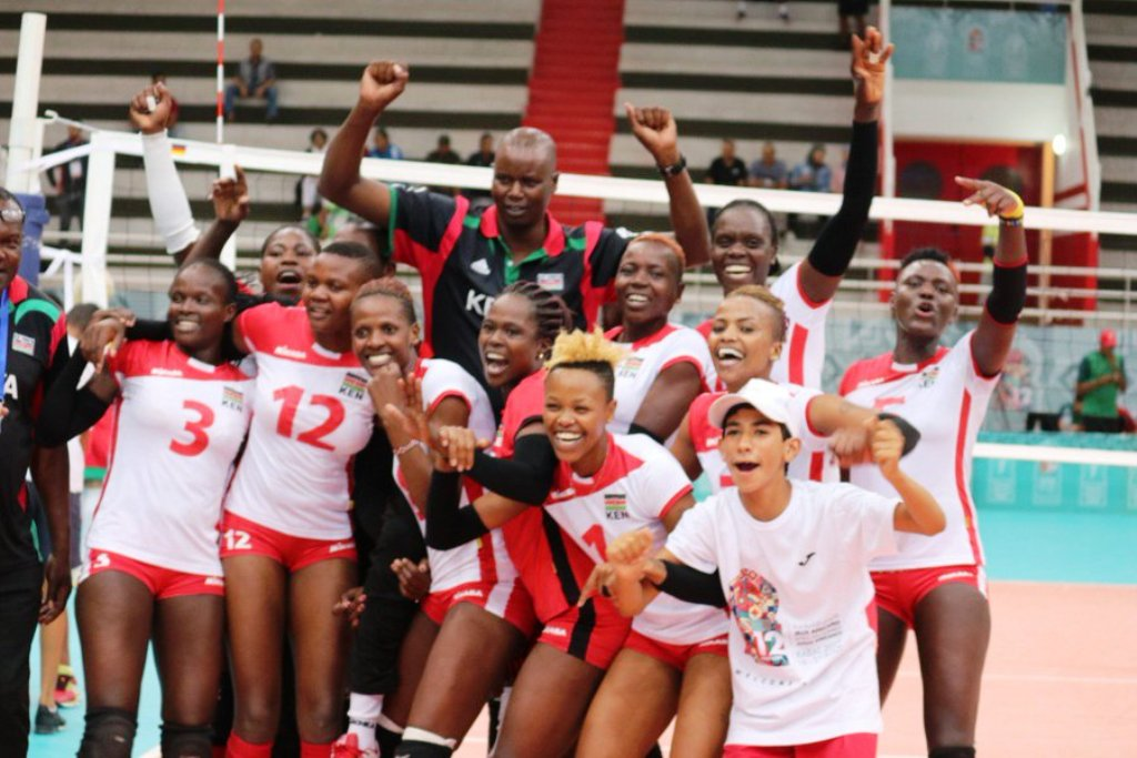 Top: The Kenya women's volleyballers Gold medallistys after overcoming Cameroon in Rabat on Friday. Coach Paul Bitok is far left. Above: The Kenyan celebrations in Rabat