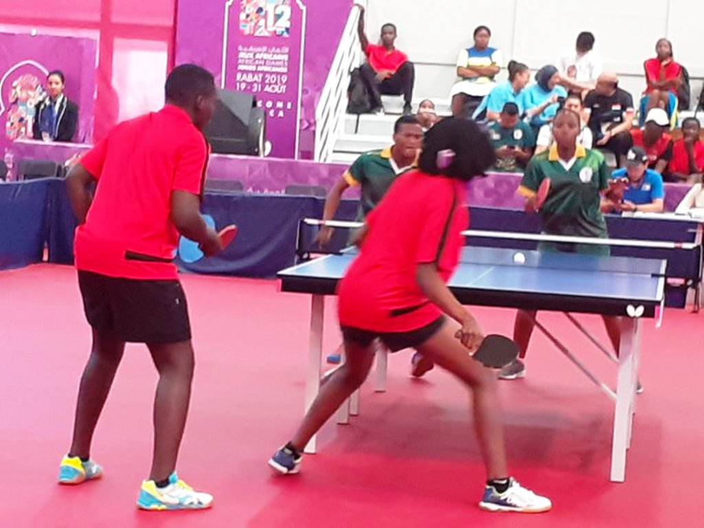 Kenya mixed doubles table tennis pair overwhelming South Africa