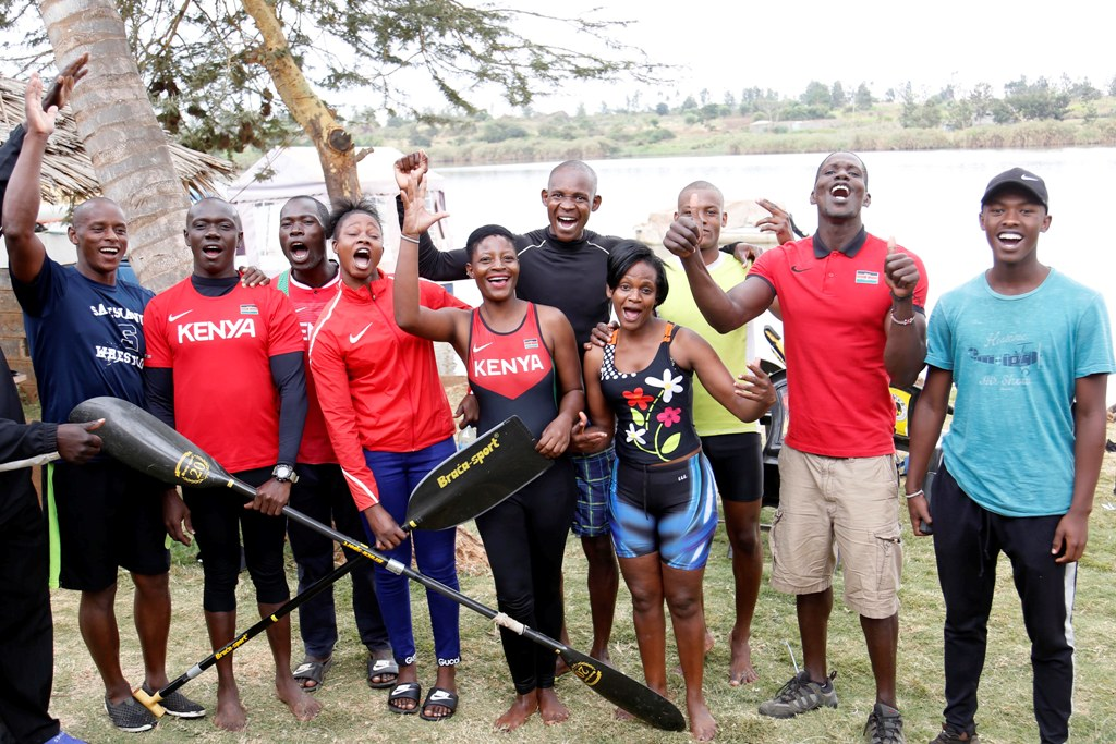 Top: The Team Kenya boxing team before leaving Moi International Sports Centre, Kasarani for Rabat. Above: Members and reserves of Team Kenya Canoe/Kayak and Rowing squads alongside Friday morning training at Courtesy 'Beach' Restaurant at Ruiru (Dam) Kiambu County. Bottom: Diana Natecho on her kayak singles training at training and bottom: Joseph Ngugi trains his canoe rowing and further bottom Kelvin Nabongo his kayak singles at Ruiru. Photos/MOHAMMED AMIN