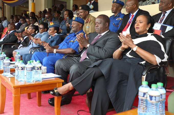 Sports Cabinet Secretary Amina Mohammed (right) watches action at the National Police Service annual athletics championships at Moi International Sports Centre, Kasarani with Ministry of Interior CS Fred Matiang'i (on her right)