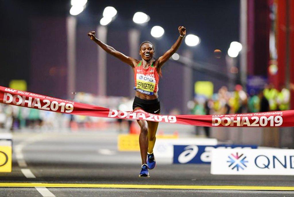 Kenya's first winner in Doha, Ruth Chepngetic, women's marathon