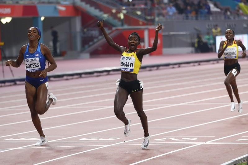Halimah Nkaayi, top and above, of Uganda surprised herself beyond belief at winning the women's 800m gold at the IAAF World Championships in Doha on Tuesday night
