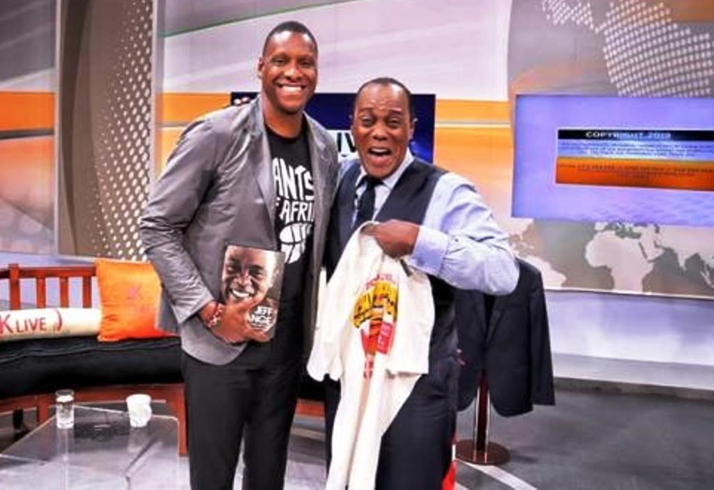 "Masai Ujiri (left) Nigerian-born President of NBA Champions Toronto Raptors during a television interview show ""Jeff Koinange (right) Live"". Ujiri said it was a shame that Kenya lacked a plan and commitment top flight professional basketball"