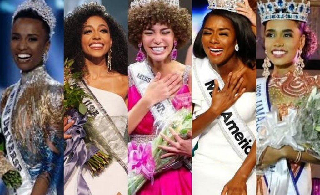 For the first time in history, five major pageant winners are all black women: Miss Universe Zonzibini Tunzi (South Africa); Miss World Toni-Ann Singh; Miss USA Cheslie Kryst; Miss Teen USA Kaliegh Garris; Miss America Nia Franklin