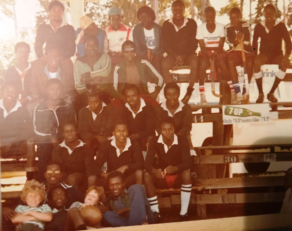 George Mng'ong'o (second from left, foreground) with Mwamba teammates and their families at break during a sevens rugby tournament at Eldoret Sports Club in 1979