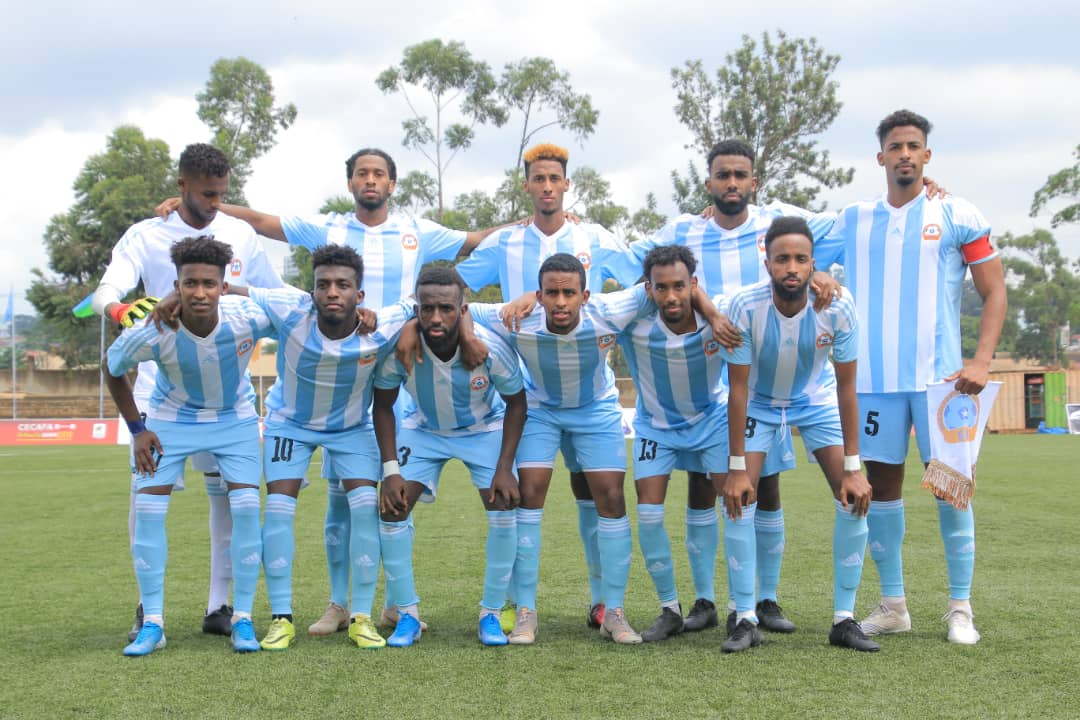 Djibouti (top) and Somalia (above) line up on Saturday afternoon at the Kampala Capital City Authority (KCCA) Football Club ground in Lugogo for the opening match of this year's Cecafa Challenge Cup