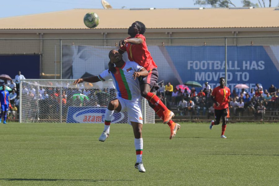 Top, and all pictures, Uganda Cranes (red) and Eritrea battle it out at Lugogo Stadium, Kampala on Thursday during the final of the 2019 Cecafa Challenge Cup