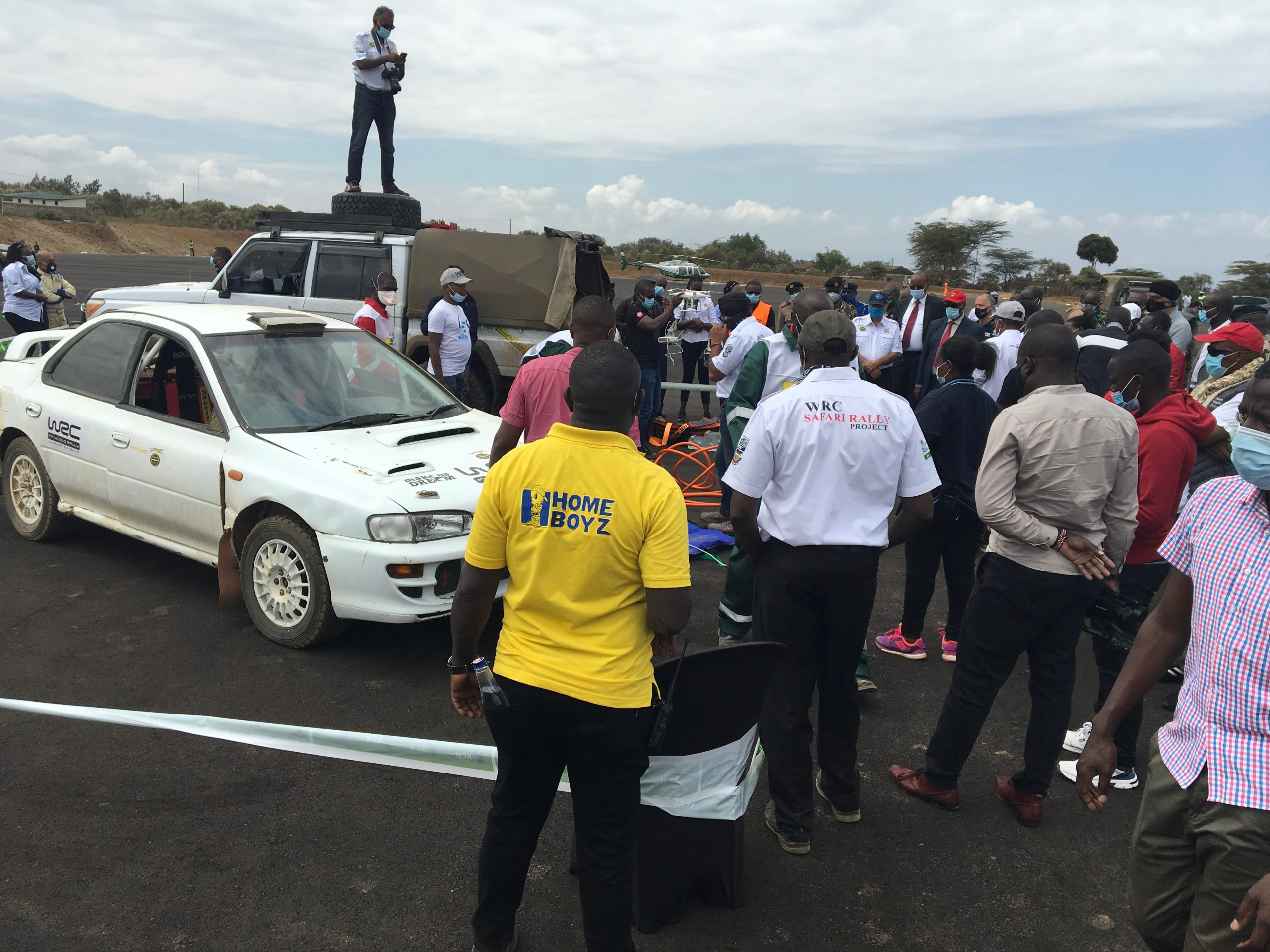 Media focus on the medical evacuation drill, WRC Safari Rally Service Park, Naivasha, Wednesday