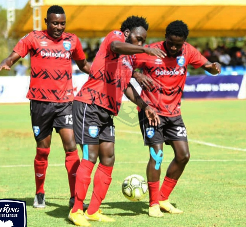 AFC Leopards celebrate their 2-0 victory over Kariobangi Sharks at Moi International Sports Centre, Kasarani on January 24. Pic/Courtesy BETKING