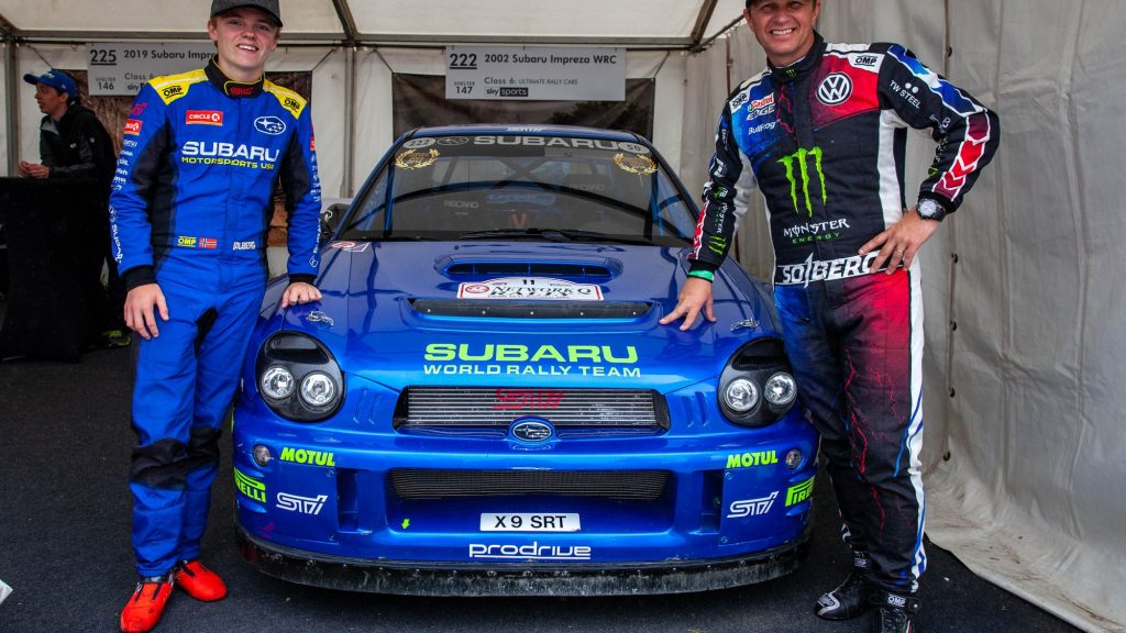 TOP: Oliver Solberg after being recruited by Hyundai. ABOVE: Oliver Solberg, previously mentored by Subaru, with famous former World Rally Champion father Petter Solberg