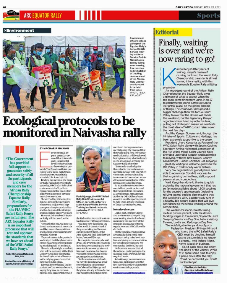 The Safari Rally story variety in Kenya's largest media house, 'Nation' Media group is wide; including ecological